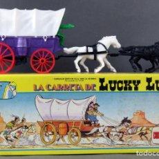 Figuras de Goma y PVC: LA CARRETA DE LUCKY LUKE COMANSI 1985 NUEVA EN CAJA REF 701. Lote 197749142