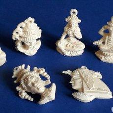 Figuras de Goma y PVC: CONJUNTO 6 COLGANTES MITOLOGÍA ORIENTAL Y EGICIA ISIS, PREMIUM TIPO DUNKIN, ORIGINAL AÑOS 60-70.. Lote 197791096
