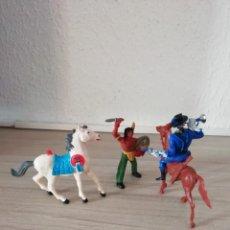 Figuras de Goma y PVC: COMANSI: SOLDADO CORNETA NORDISTA YANKEE Y INDIO A CABALLO OESTE AMERICANO AÑOS 70/90.PTOY. Lote 197943811