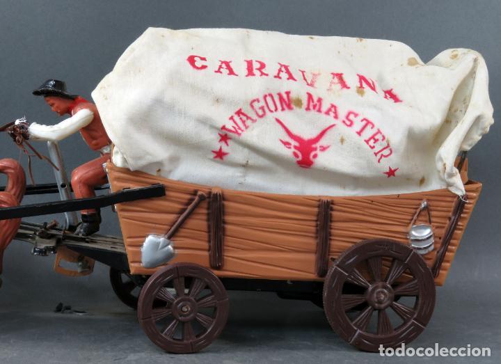 Figuras de Goma y PVC: Caravana de Vicma Wagon Master con caballos y conductor años 60 usada - Foto 2 - 198191627