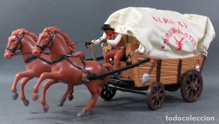 Figuras de Goma y PVC: Caravana de Vicma Wagon Master con caballos y conductor años 60 usada - Foto 3 - 198191627