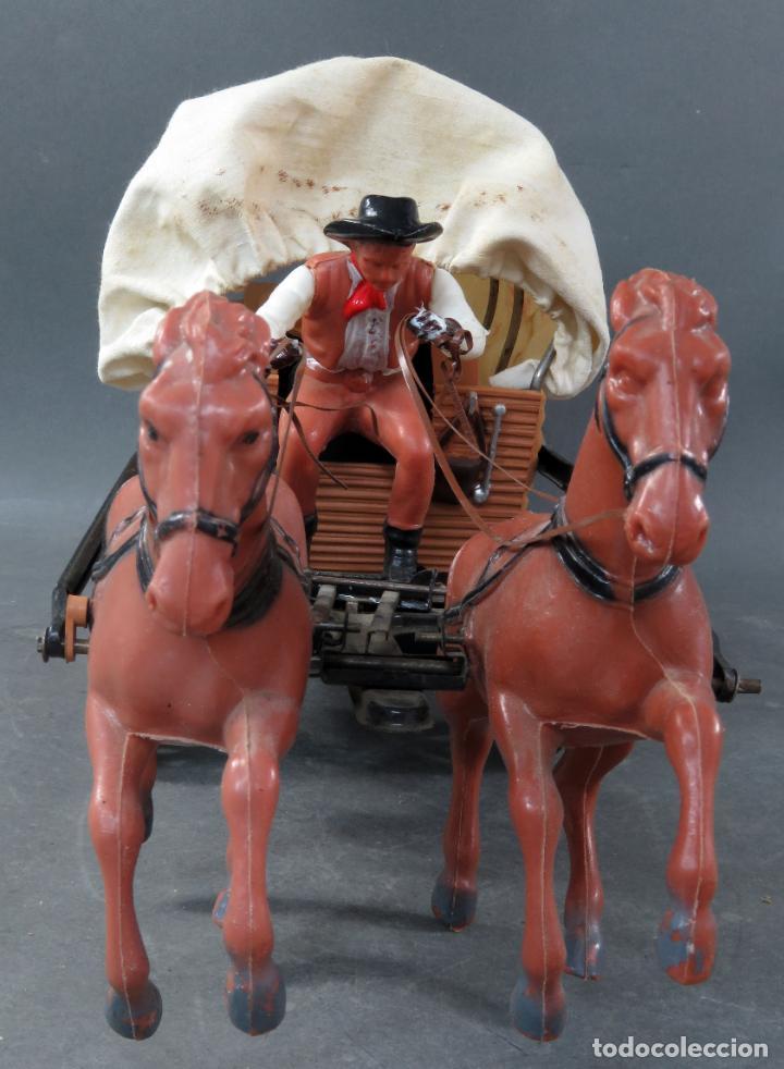 Figuras de Goma y PVC: Caravana de Vicma Wagon Master con caballos y conductor años 60 usada - Foto 4 - 198191627