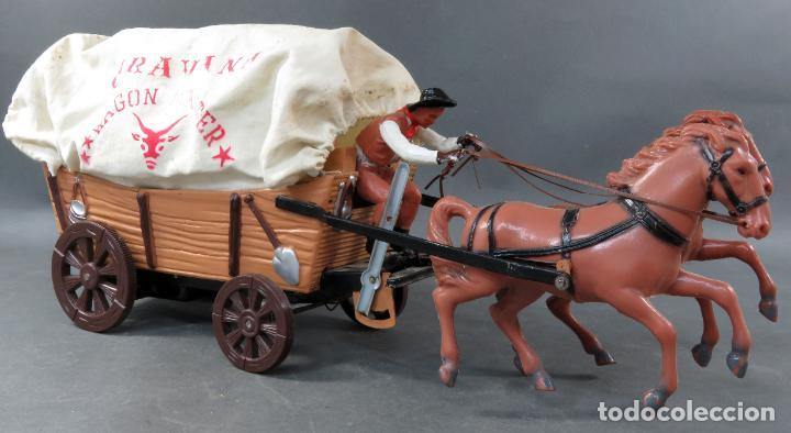 Figuras de Goma y PVC: Caravana de Vicma Wagon Master con caballos y conductor años 60 usada - Foto 5 - 198191627