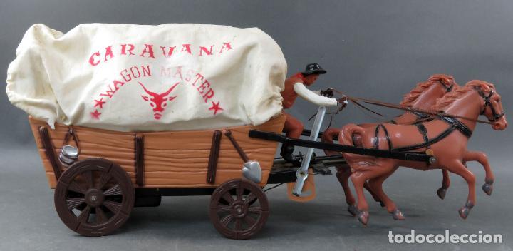 Figuras de Goma y PVC: Caravana de Vicma Wagon Master con caballos y conductor años 60 usada - Foto 6 - 198191627