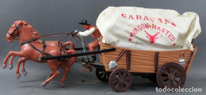 CARAVANA DE VICMA WAGON MASTER CON CABALLOS Y CONDUCTOR AÑOS 60 USADA (Juguetes - Figuras de Goma y Pvc - Teixido)