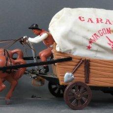Figuras de Goma y PVC: CARAVANA DE VICMA WAGON MASTER CON CABALLOS Y CONDUCTOR AÑOS 60 USADA. Lote 198191627