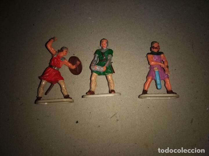 3 FIGURAS PLÁSTICO MEDIVALES PARA EXIN CASTILLOS HISTÓREX ELASTOLIN (Juguetes - Figuras de Goma y Pvc - Otras)