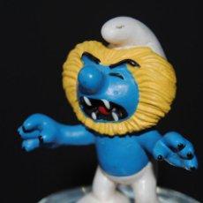 Figuras de Goma y PVC: FIGURA PITUFO GOMA LEON SCHLEICH PEYO. Lote 198925702