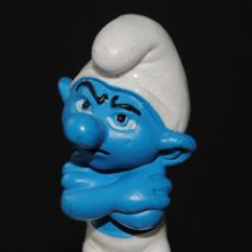 Figuras de Goma y PVC: FIGURA PITUFO GOMA CON GRUÑON SCHLEICH PEYO. Lote 198926192