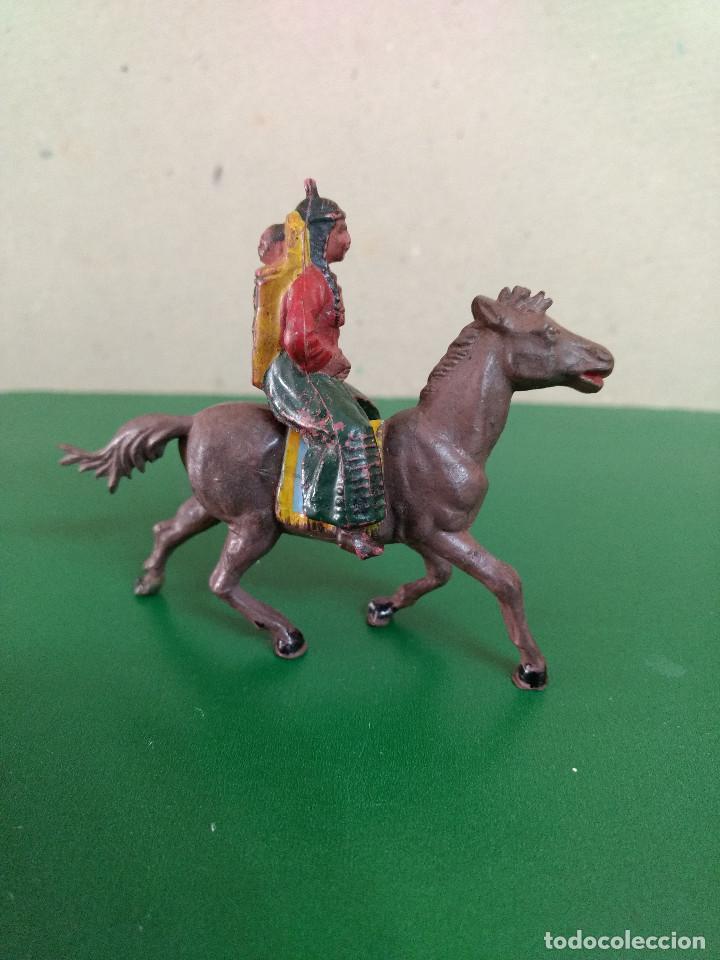 Figuras de Goma y PVC: MUJER INDIA CON NIÑO A CABALLO GOMA ORIGINAL años 50-60 ASTER. REAMSA .. - Foto 2 - 198951825