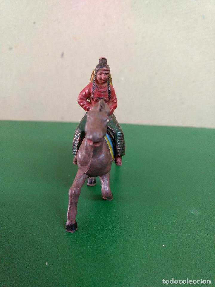 Figuras de Goma y PVC: MUJER INDIA CON NIÑO A CABALLO GOMA ORIGINAL años 50-60 ASTER. REAMSA .. - Foto 3 - 198951825