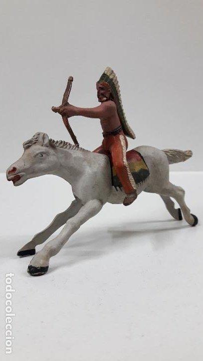 Figuras de Goma y PVC: GUERRERO INDIO A CABALLO . REALIZADO POR REAMSA . AÑOS 50 EN GOMA - Foto 2 - 199585627