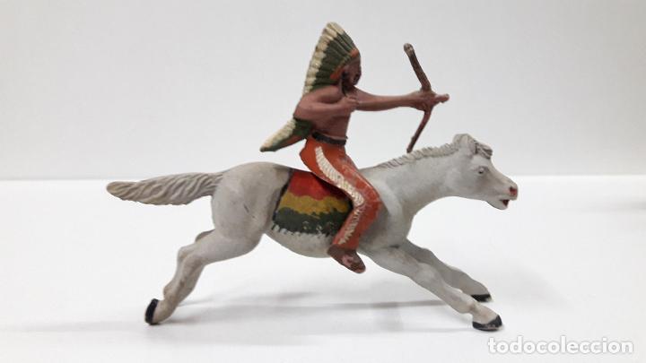 Figuras de Goma y PVC: GUERRERO INDIO A CABALLO . REALIZADO POR REAMSA . AÑOS 50 EN GOMA - Foto 3 - 199585627
