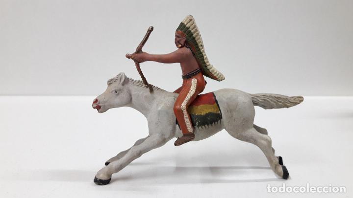 Figuras de Goma y PVC: GUERRERO INDIO A CABALLO . REALIZADO POR REAMSA . AÑOS 50 EN GOMA - Foto 4 - 199585627