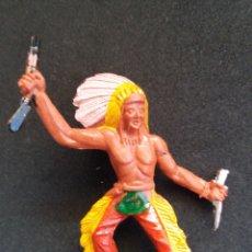 Figuras de Borracha e PVC: ANTIGUA FIGURA JEFE INDIO DE MANUEL SOTORRES. PLÁSTICO.. Lote 200239975