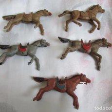 Figuras de Borracha e PVC: 5 CABALLOS ANTIGUOS DEL OESTE ( PECH , JECSAN , REAMSA , TEIXIDO , OLIVER , COMANSI. Lote 200605365