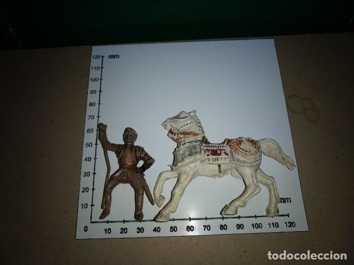 Figuras de Goma y PVC: REAMSA CABALLO PLASTICO y GUERRERO GOMA MEDIEVAL SERIE EL CID ORIGINAL 100% AÑOS 50-60 - Foto 4 - 201337800