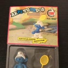 Figuras de Goma y PVC: PITUFO GUAY FIGURA ARTICULADA BLISTER ORIGINAL PEYO AÑO 1984 MADE IN SPAIN REF. 1018 ARPITUFADOS. Lote 212508817