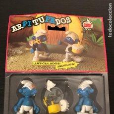 Figuras de Goma y PVC: PITUFOS GUAY FIGURA ARTICULADA BLISTER ORIGINAL PEYO AÑO 1984 MADE IN SPAIN REF. 1012 ARPITUFADOS. Lote 212508845