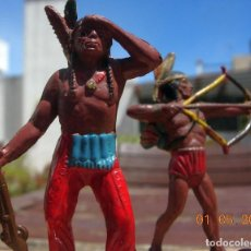 Figurines en Caoutchouc et PVC: EXCEPCIONAL LOTE COLECCION FIGURAS ANTIGUAS INDIOS GOMA TEIXIDO TIPO PECH LAFREDO JECSAN. Lote 202678887
