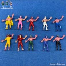 Figuras de Goma y PVC: LOTE DE 10 - LUCHADOR ENMASCARADO - LUCHA LIBRE MÉXICO - LUCHADORCITO DE PLÁSTICO - AÑOS 80´S. Lote 203037328