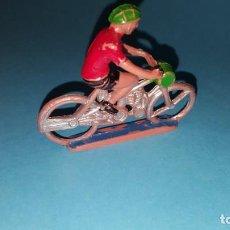 Figuras de Goma y PVC: CICLISTA- MOTORISTA - PLASTICO - SOTORRES - VUELTA CICLISTA. Lote 203440001