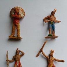 Figuras de Goma y PVC: LOTE 4 FIGURAS INDIOS JECSAN. AÑOS 60/70.. Lote 204168507