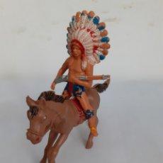 Figuras de Goma y PVC: FIGURA INDIO A CABALLO PECH,REAMSA,JECSAN PLASTICO. Lote 204390763