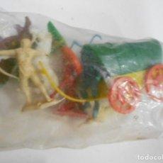 Figuras de Goma y PVC: ANTIGUA CARAVANA CON INDIOS Y VAQUEROS NUEVA EN SU BLISTER. Lote 204619776