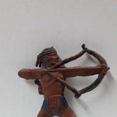 Figuras de Goma y PVC: GUERRERO INDIO CON ARCO PARA CABALLO . FABRICANTE DESCONOCIDO .ORIGINAL AÑOS 50 EN GOMA. Lote 204968092