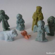 Figuras de Goma y PVC: SIETE FIGURITAS DE BELÉN DE SOBRES SORPRESA SERJAN LA ILUSIÓN AÑOS 70 - SIN USO. Lote 98432779