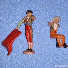 Figuras de Goma y PVC: ANTIGUO LOTE DE TORERO Y PICADOR EN GOMA O SIMILAR AÑOS 60 ORIGINALES EN BUEN ESTADO. Lote 205185791