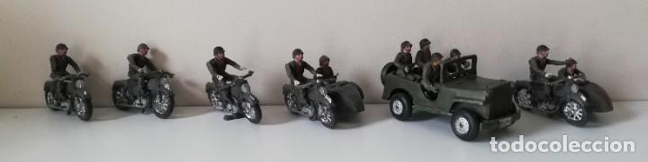 FIGURA JEEP, DOS MOTOS CON SIDECAR DE TEIXIDO Y 3 MOTOS SENCILLAS, DESFILE DE INFANTERIA, REALIZADAS (Juguetes - Figuras de Goma y Pvc - Teixido)