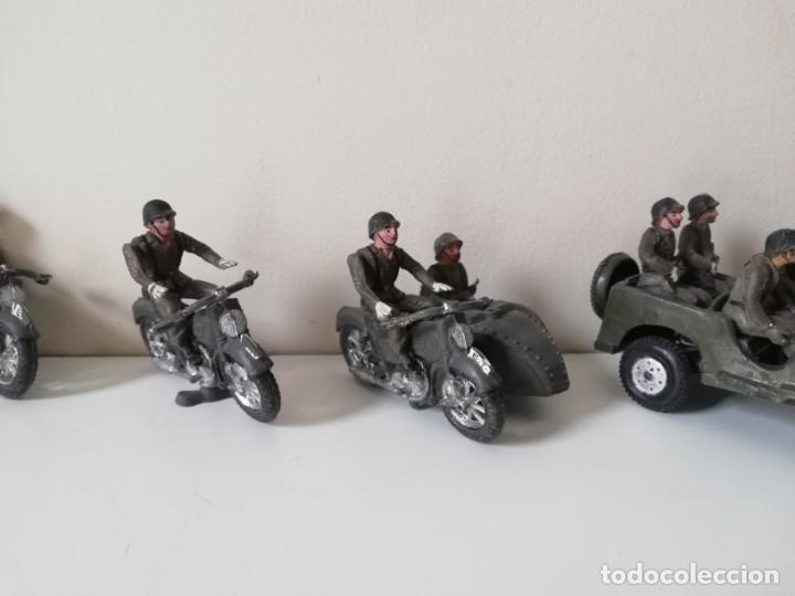 Figuras de Goma y PVC: FIGURA JEEP, DOS MOTOS CON SIDECAR DE TEIXIDO Y 3 MOTOS SENCILLAS, DESFILE DE INFANTERIA, REALIZADAS - Foto 4 - 205738238