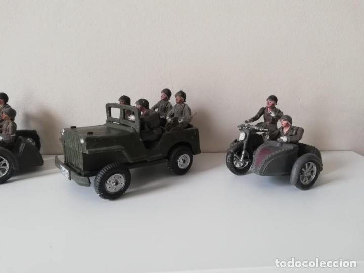 Figuras de Goma y PVC: FIGURA JEEP, DOS MOTOS CON SIDECAR DE TEIXIDO Y 3 MOTOS SENCILLAS, DESFILE DE INFANTERIA, REALIZADAS - Foto 8 - 205738238