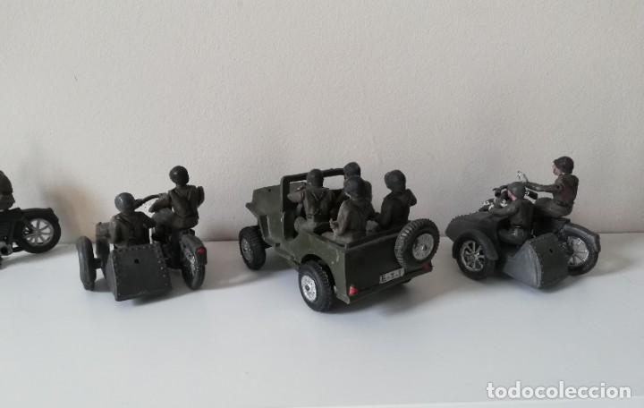 Figuras de Goma y PVC: FIGURA JEEP, DOS MOTOS CON SIDECAR DE TEIXIDO Y 3 MOTOS SENCILLAS, DESFILE DE INFANTERIA, REALIZADAS - Foto 11 - 205738238