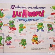 Figuras Kinder: ADHESIVO / FOLLETO PUBLICITARIO DE KINDER SORPRESA - LAS RANOPLÁ EN LA NIEVE - AÑOS 90. Lote 206117101