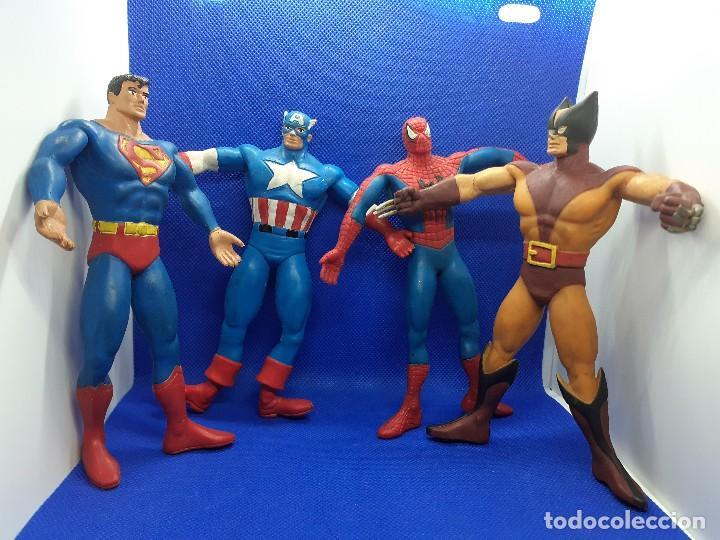 LOTE DE 4 SÚPER HÉROES COMICS SPAIN. SUPERMAN, LOBEZNO, SPIDERMAN Y CAPITÁN AMÉRICA. (Juguetes - Figuras de Goma y Pvc - Comics Spain)