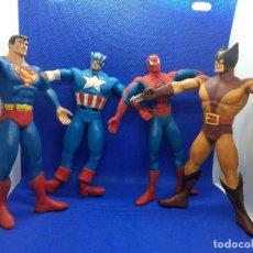 Figuras de Goma y PVC: LOTE DE 4 SÚPER HÉROES COMICS SPAIN. SUPERMAN, LOBEZNO, SPIDERMAN Y CAPITÁN AMÉRICA.. Lote 206186637