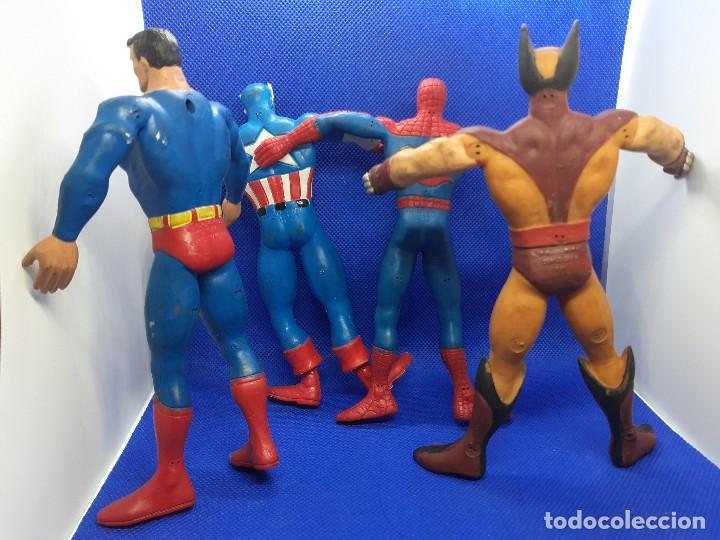 Figuras de Goma y PVC: Lote de 4 súper héroes Comics Spain. Superman, Lobezno, Spiderman y Capitán América. - Foto 2 - 206186637