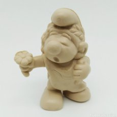 Figuras de Goma y PVC: MUY DIFÍCIL PITUFO ROMANO CON TOGA Y FLOR - SMURF ROMMER GNOME - BOOTLEG, RAREZA SIN PINTAR. Lote 206234012