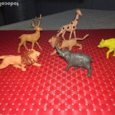 Figuras de Goma y PVC: LOTE 6 ANIMALES SALVAJES - PVC - 7 CMS. - AÑOS 70. Lote 206393157