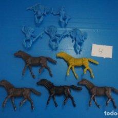 Figuras de Goma y PVC: LOTE DE 10 INDIOS Y CABALLOS DE PLASTICO DE KIOSKO DIFERENTES COLORES LOTE 4. Lote 206406683
