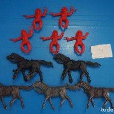 Figuras de Goma y PVC: LOTE DE 10 VAQUEROS Y CABALLOS DE PLASTICO DE KIOSKO DIFERENTES COLORES LOTE 3. Lote 206406726