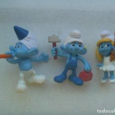 Figuras de Goma y PVC: LOTE DE 3 FIGURAS DE COLECCION DE MCDONALD : LOS PITUFOS. Lote 207154018