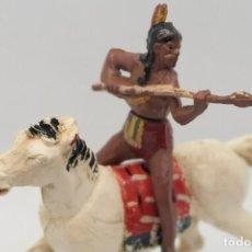 Figuras de Goma y PVC: ANTIGUAS FIGURAS DEL OESTE EN GOMA . GAMA. SERIE INDIOS Y VAQUEROS.. Lote 207261818