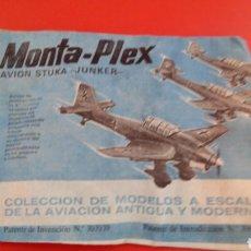 Figuras de Borracha e PVC: MONTA-PLEX AVIÓN STUKA-JUNKER 2A GUERRA MUNDIAL.MONTAPLEX 1967 ORIGINAL SIN ABRIR.. Lote 207373862