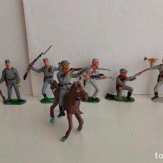 Figuras de Goma y PVC: OCHO CONFEDERADOS DE JECSAN. SIETE A PIE Y UNO A CABALLO. AÑOS 60/70. Lote 207526011