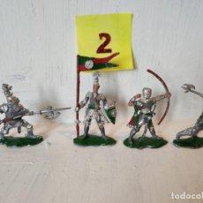 Figuras de Goma y PVC: LOTE 4 CABALLEROS MEDIEVALES INCLUYE 1 ARQUERO. LAFREDO. Lote 207572958