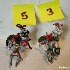 Figuras de Goma y PVC: LOTE 2 JINETES MEDIEVALES CON 2 CABALLOS. LAFREDO. Lote 207573576